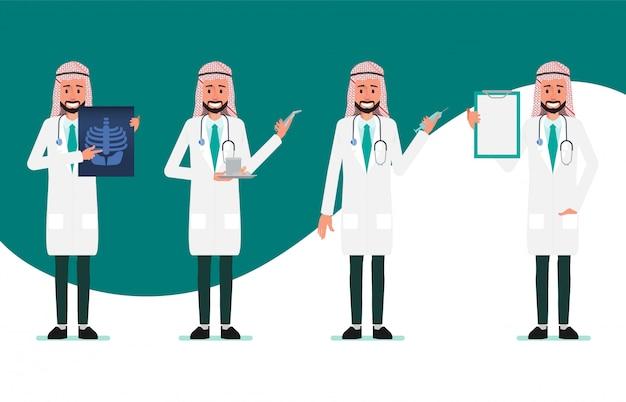 Caráter de médico muçulmano e árabe. hospital trabalhador e equipe médica.