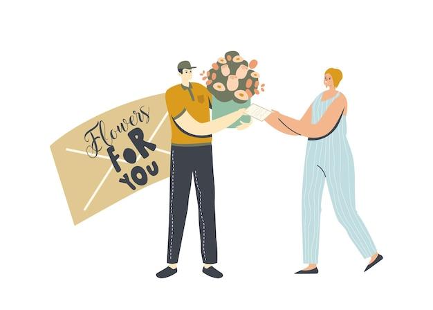 Caráter de mensageiro masculino manipula buquê de flores e receita para assinar com o cliente