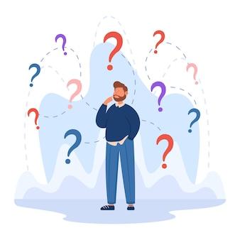 Caráter de negócios confuso tomando decisões importantes