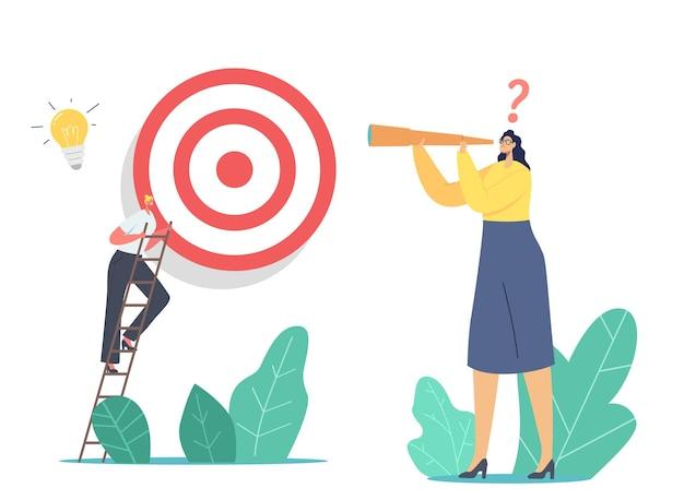 Caráter de negócios subir escada superar obstáculos que dão o próximo passo para alcançar a meta. mulher de negócios olhando na luneta. conquista de metas, objetivo, estratégia de desafio. ilustração em vetor desenho animado