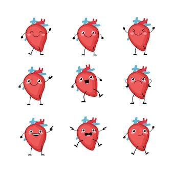 Caráter de órgãos do coração bonito definido em um estilo cartoon plana.
