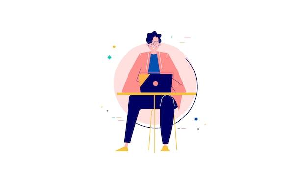 Caráter de pessoas cercado com ilustração de conceito de design plano de gadgets