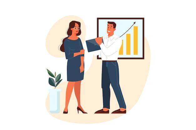 Caráter de pessoas de negócios. empresário e empresária conversando no local de trabalho. dois colegas de escritório. homem segurando um laptop. conceito de parceria. ilustração em estilo cartoon