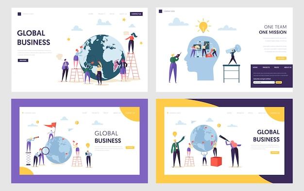 Caráter de pessoas faz negócios globais na página inicial da front earth.