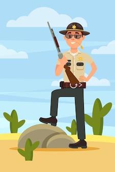 Caráter de policial da cidade xerife masculino em uniforme oficial de pé com rifle no deserto ilustração