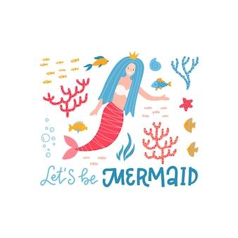 Caráter de sereia fofinho marinho vamos ser texto de letras de sereia