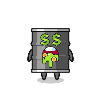 Caráter de tambor de óleo com uma expressão de louco por dinheiro, design fofo