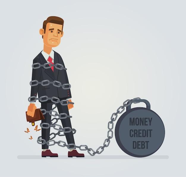 Caráter de trabalhador de escritório com peso de dinheiro de crédito da dívida.