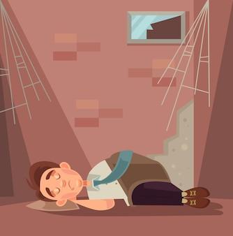 Caráter de trabalhador de escritório despedido a dormir numa ilustração de desenho animado de rua