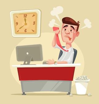 Caráter de trabalhador de escritório estressante e ocupado