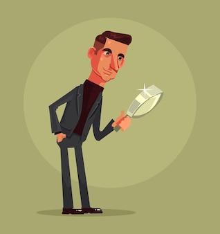 Caráter de trabalhador de escritório homem explorando com lupa.