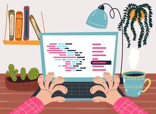 Caráter de trabalhador programador desenvolve conceito de código de programa de computador