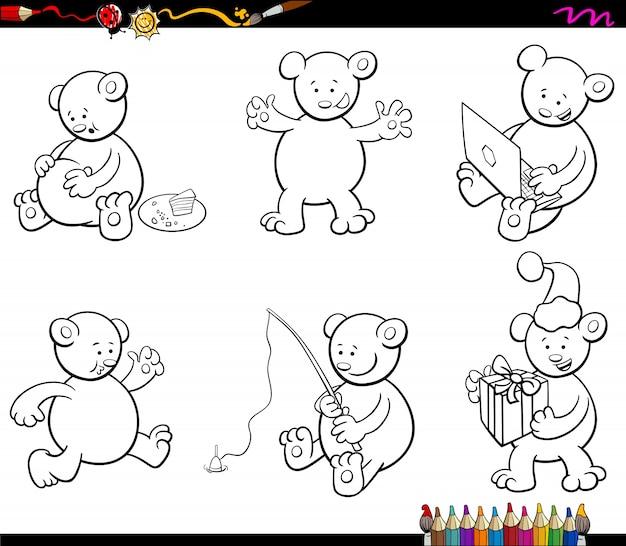 Caráter de ursinho de desenho conjunto de livro para colorir