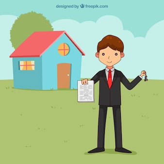 Caráter de vendedor sorridente segurando o contrato
