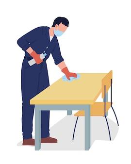 Caráter de vetor de cor semi-plana de limpeza de superfície de mesa de limpeza