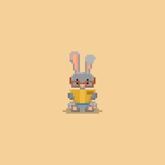 Caráter do book.8bit da leitura do coelho do pixel volta à escola.