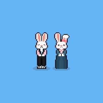 Caráter do coelho dos desenhos animados da arte do pixel com traje do hanbok chusch.