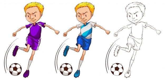 Caráter do doodle para a ilustração do jogador de futebol