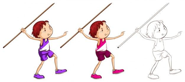 Caráter do doodle para o homem fazendo ilustração do javelin