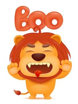 Caráter do emoji dos desenhos animados do leão que diz o boo.