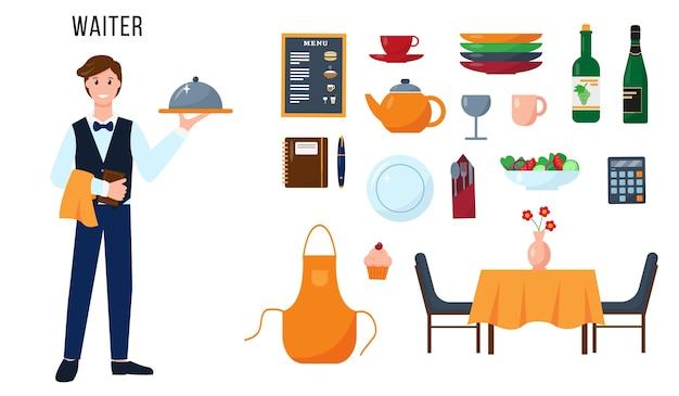 Caráter do garçom e conjunto de elementos para seu trabalho. conceito de pessoas de profissão.