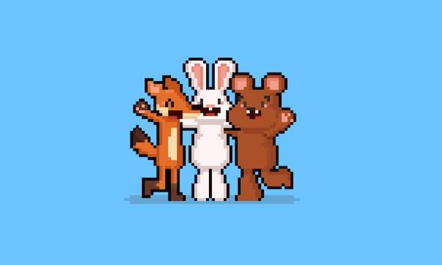Caráter do grupo do amigo do animal dos desenhos animados da arte do pixel