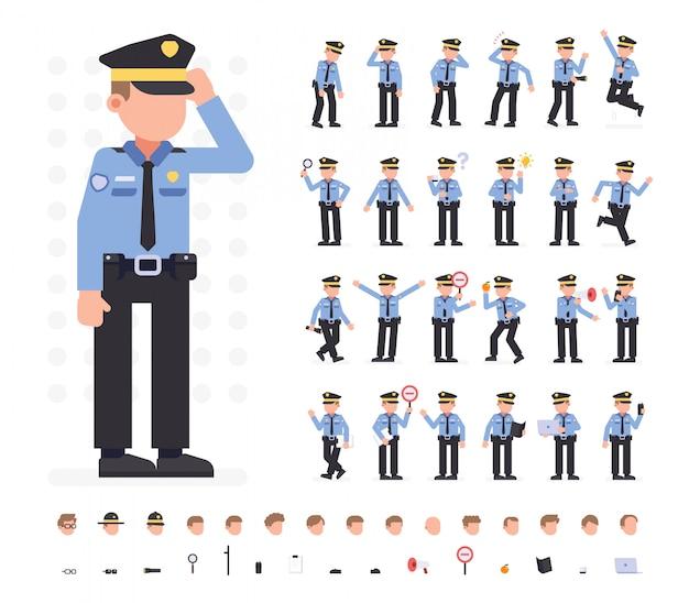 Caráter do homem da polícia ajustado em poses diferentes. ilustração em vetor plana isolado