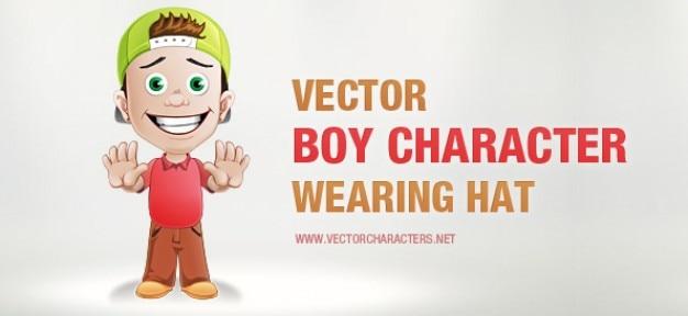 Caráter do menino vetor com um chapéu