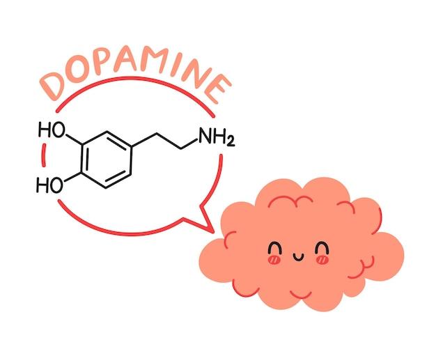 Caráter do órgão cerebral e fórmula de dopamina no balão de fala