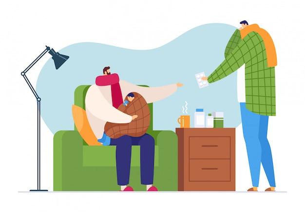 Caráter doente da gripe na casa familiar, ilustração. homem se preocupa com criança doente com frio, cuidados de saúde por comprimidos de medicamento.