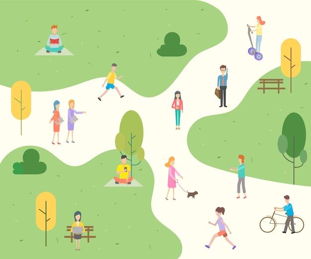 Caráter dos povos no fundo do parque.