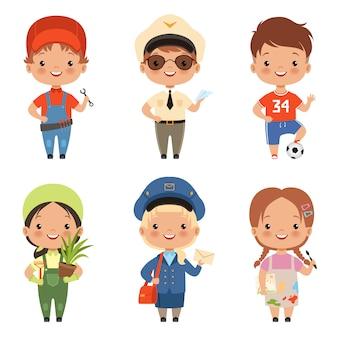 Caráter engraçado das crianças dos desenhos animados de várias profissões