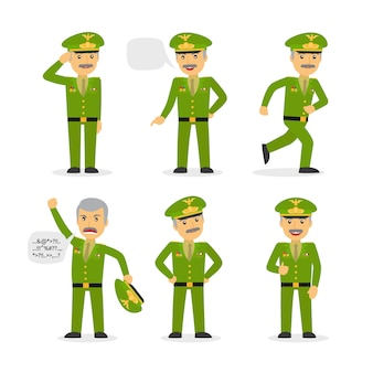 Caráter geral militar em poses diferentes