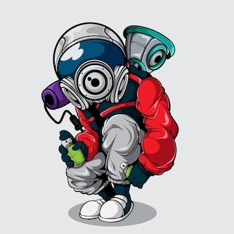 Caráter grafittis com capacete de astronauta