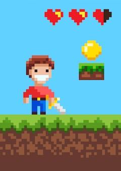 Caráter heroico do jogo pixel com espada