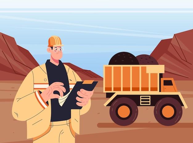 Caráter homem engenheiro de mineração de carvão inspecionando conceito de processo de trabalho