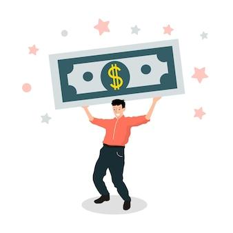 Caráter humano carregando um grande presente de dólar. homem de negócios guarda dinheiro