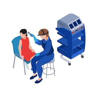 Caráter humano fazendo exame médico em ilustração isométrica de clínica de otorrinolaringologia