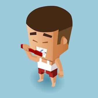 Caráter humano que escove os dentes
