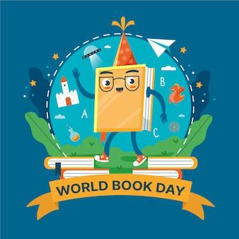 Caráter ilustrado do dia mundial do livro