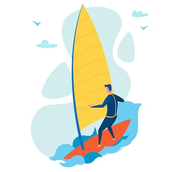 Caráter liso windsurfing extremo do turista