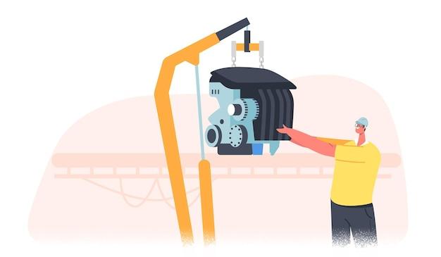 Caráter masculino de trabalhador de fábrica, gerenciando a peça do veículo de configuração do processo de montagem na linha de produção do carro, fábrica de transporte automatizado, tecnologias modernas. ilustração em vetor desenho animado