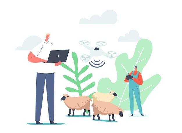 Caráter masculino pastor usa quadcopter e rfid, tecnologia de etiqueta de identificação por rádio frequência para ovelhas pastando. tecnologias de negócios contemporâneas inovadoras. ilustração em vetor desenho animado