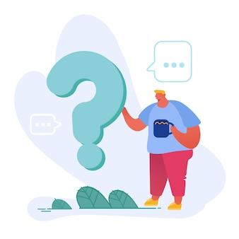 Caráter masculino pensativo e duvidoso fica perto do enorme ponto de interrogação com uma xícara de café na mão, pensando ou pesquisando a solução do problema.