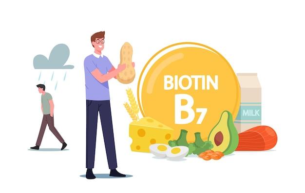 Caráter masculino segurando amendoim, comendo alimentos saudáveis e ingredientes naturais, homem aplicando biotina, vitamina b7 para uma boa saúde e dieta, colágeno farmacêutico. ilustração em vetor desenho animado