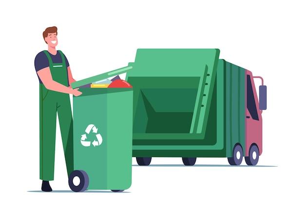 Caráter masculino zelador carregando recipiente de reciclagem com lixo para separação