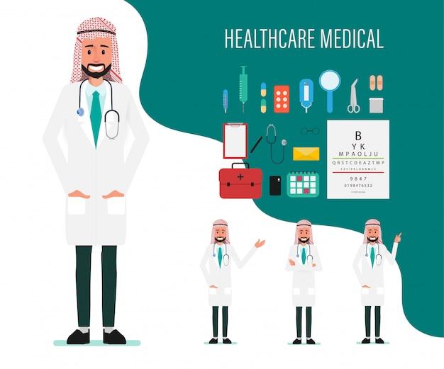 Caráter médico árabe. hospital trabalhador e equipe médica.