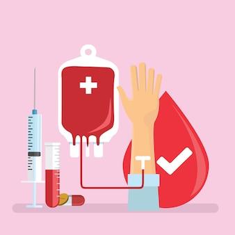 Caráter minúsculo do doador de sangue