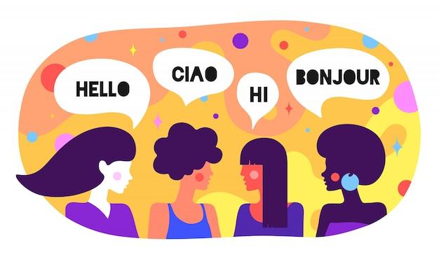Caráter moderno. amigos mulheres dizem olá, ciao, oi, bonjour