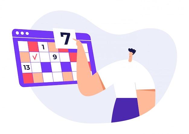 Caráter moderno de homem com grande calendário, calendário, apontando na data, prazo, agenda. conceito de trabalho de escritório, página da web. ilustração plana.